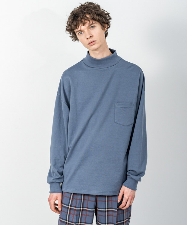 Compact Fleece Mock Neck Pullover - BLUE GRAY