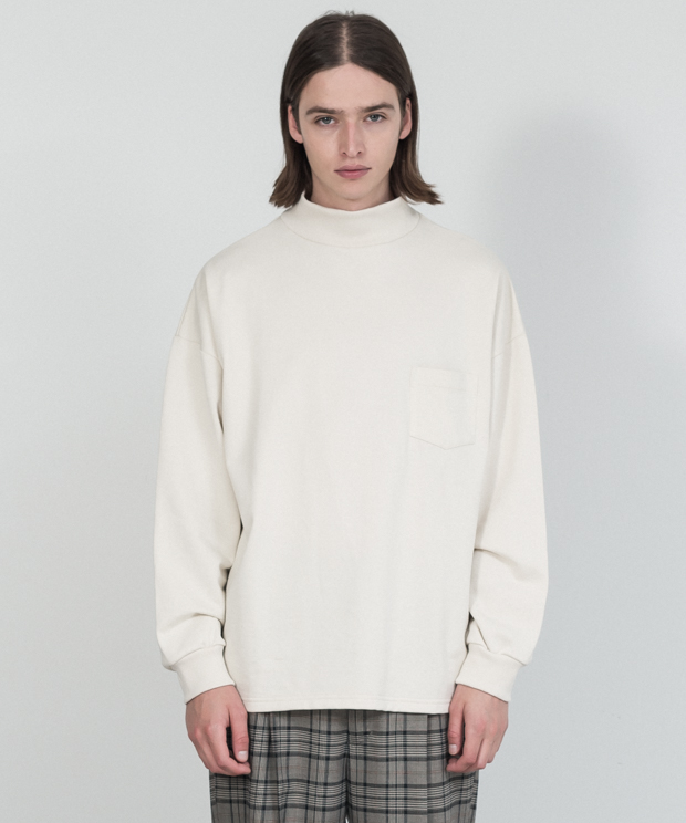 Compact Fleece Mock Neck Pullover - IVORY