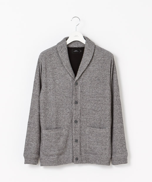 Double Cloth Shawl Cardigan - GRAY