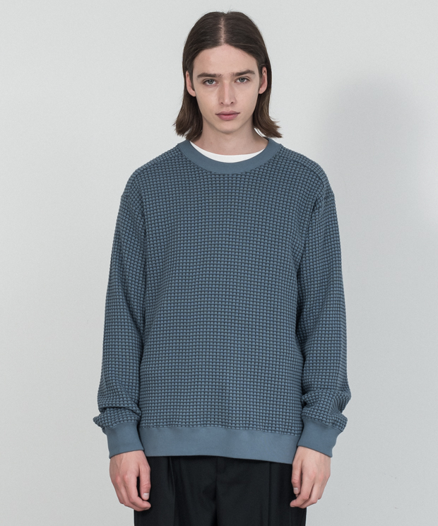Big Waffle Pullover - BLUE-GRAY