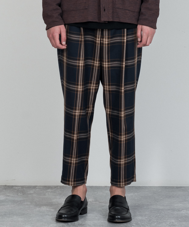 T/R Check Wide Tapered Ankle Cut Slacks - NAVY