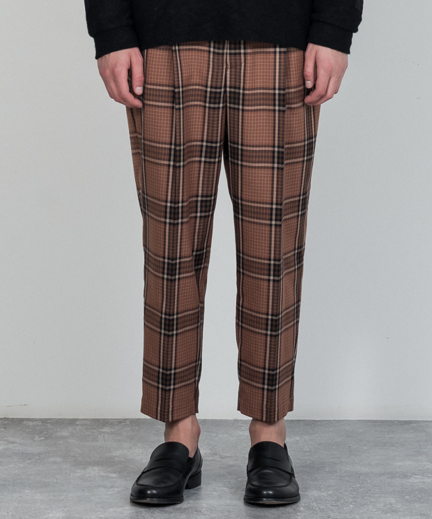 T/R Check Wide Tapered Ankle Cut Slacks - BROWN