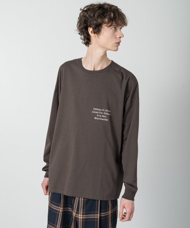 Dropped Shoulders Printed T-Shirt (Worthwhile) - BROWN