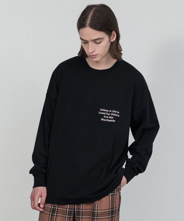 Dropped Shoulders Printed T-Shirt (Worthwhile) - BLACK