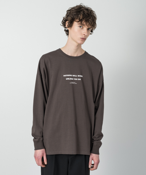Dropped Shoulders Printed T-Shirt (Nothing) - BROWN