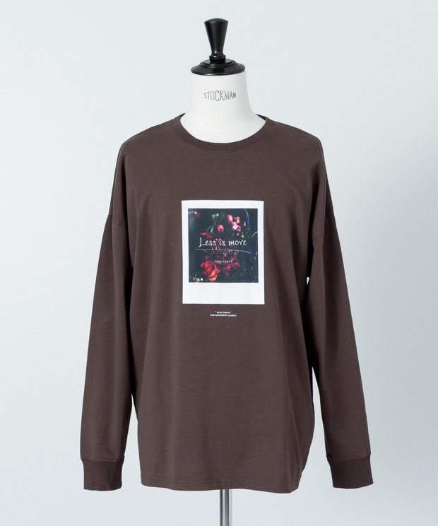 Dropped Shoulders Printed T-Shirt (Less Is) - BROWN