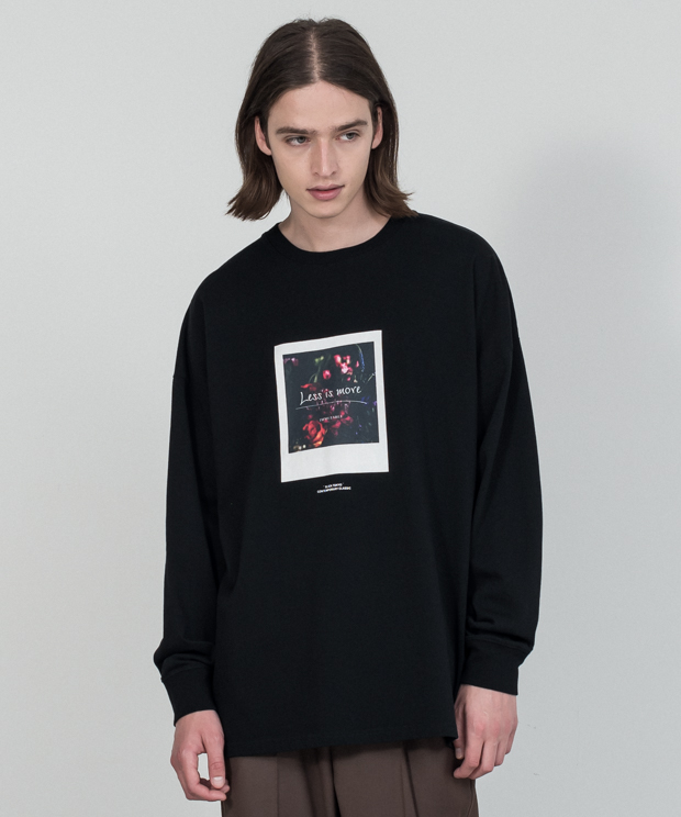 Dropped Shoulders Printed T-Shirt (Less Is) - BLACK