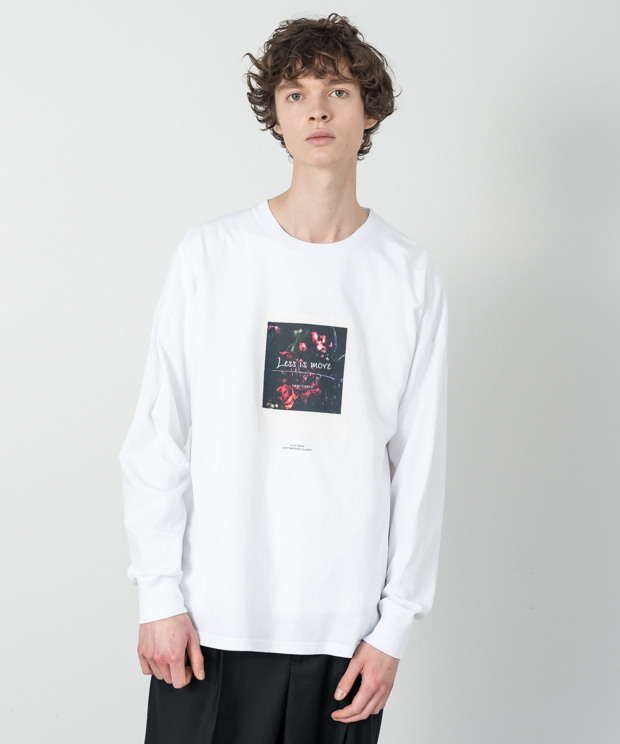 Dropped Shoulders Printed T-Shirt (Less Is) - WHITE