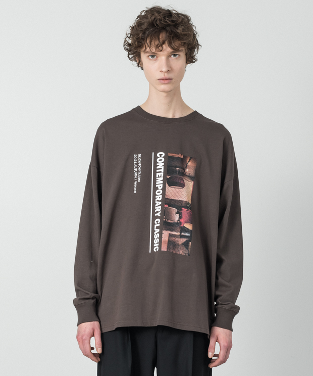 Dropped Shoulders Printed T-Shirt (Contem) - BROWN