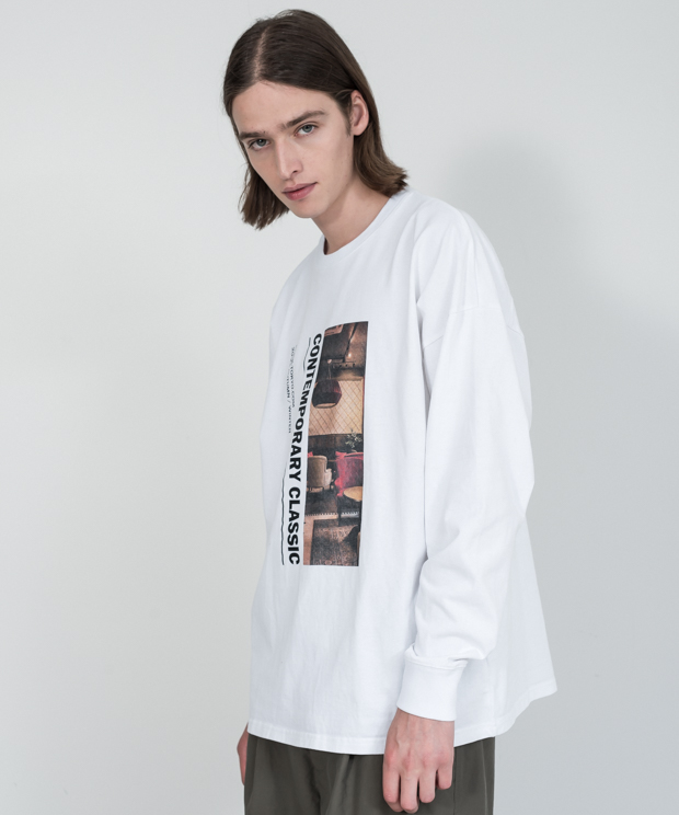 Dropped Shoulders Printed T-Shirt (Contem) - WHITE