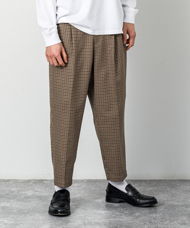 T/R Gun Club Check Wide Tapered Ankle Cut Slacks - BEIGE