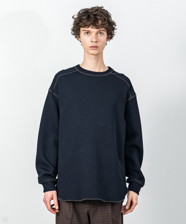 Quarter Gauge Stitch Work Pullover - NAVY