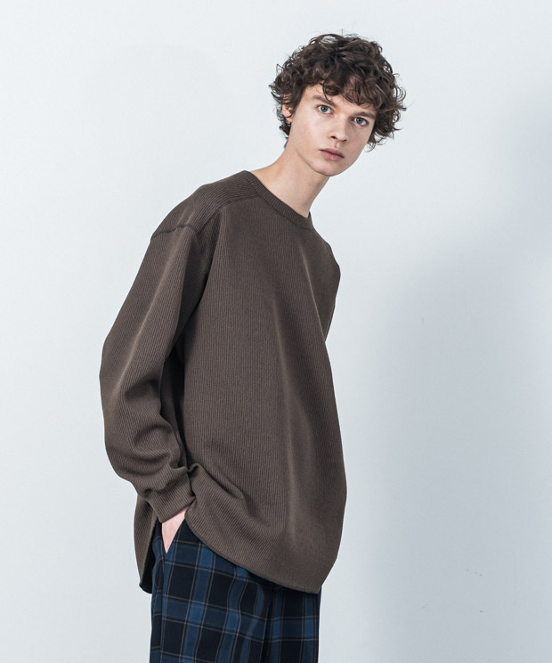 Quarter Gauge Stitch Work Pullover - KHAKI