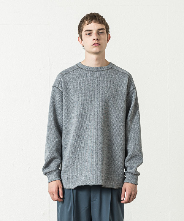 Quarter Gauge Stitch Work Pullover - GRAY