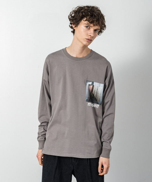 Dropped Shoulders Printed T-Shirt (Myself) - LIGHT GRAY