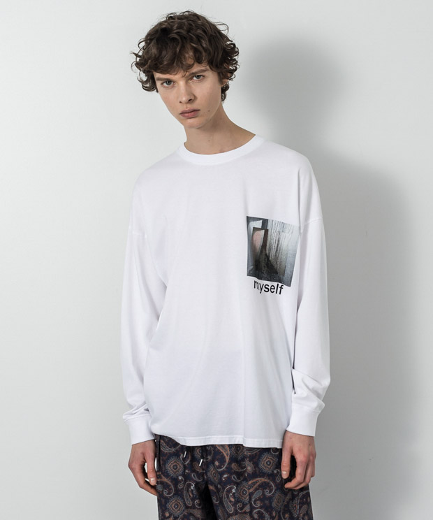 Dropped Shoulders Printed T-Shirt (Myself) - WHITE