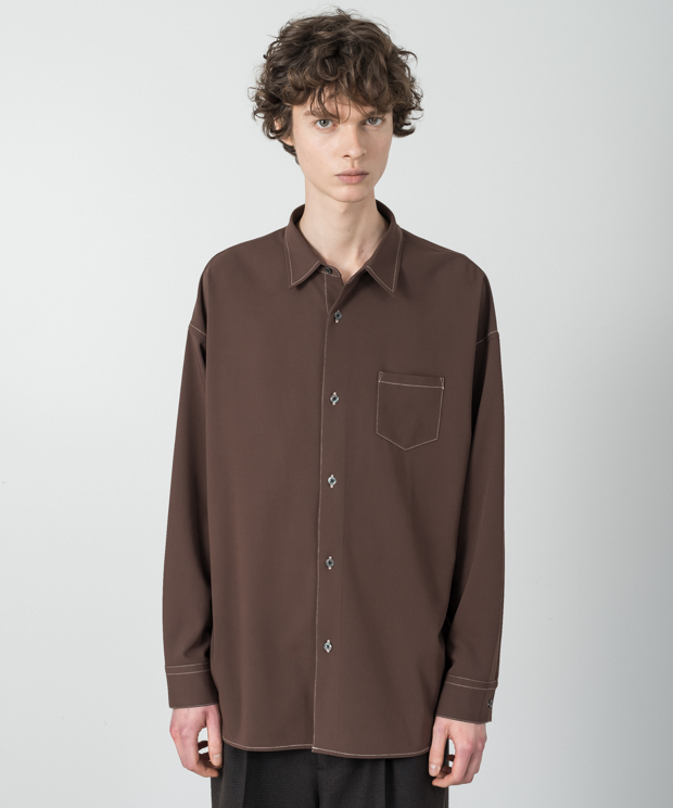 T/R Twil Dropped Shoulders Stitch Work Shirt - BROWN