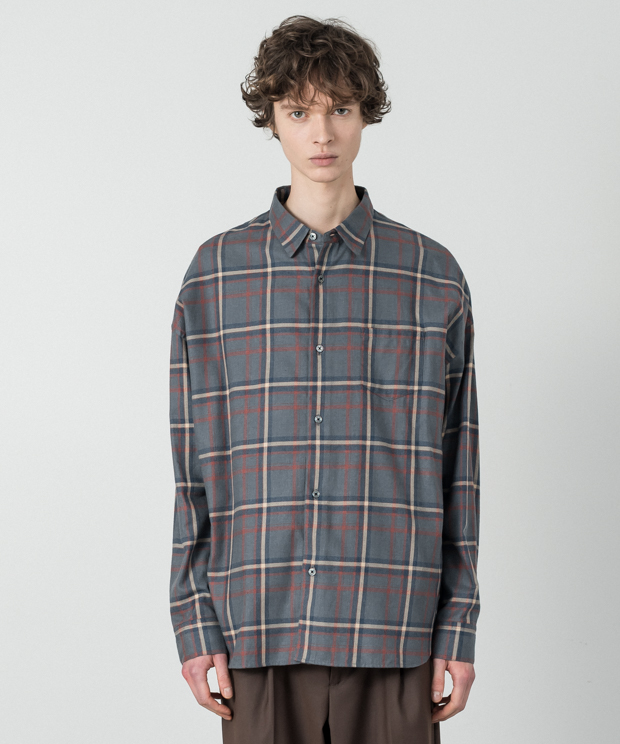 Vintage Check Dropped Shoulders Shirt - BLUEGRAY