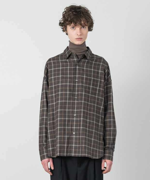 Vintage Check Dropped Shoulders Shirt - BROWN