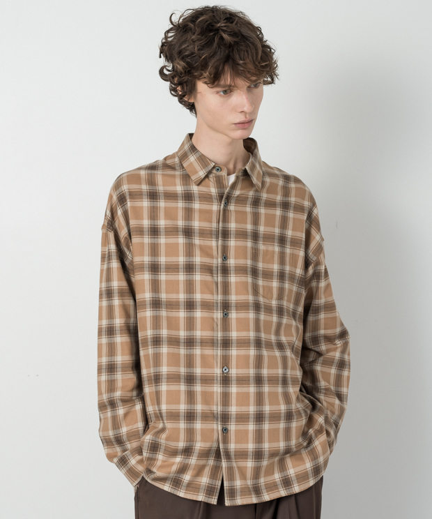 Vintage Check Dropped Shoulders Shirt - BEIGE