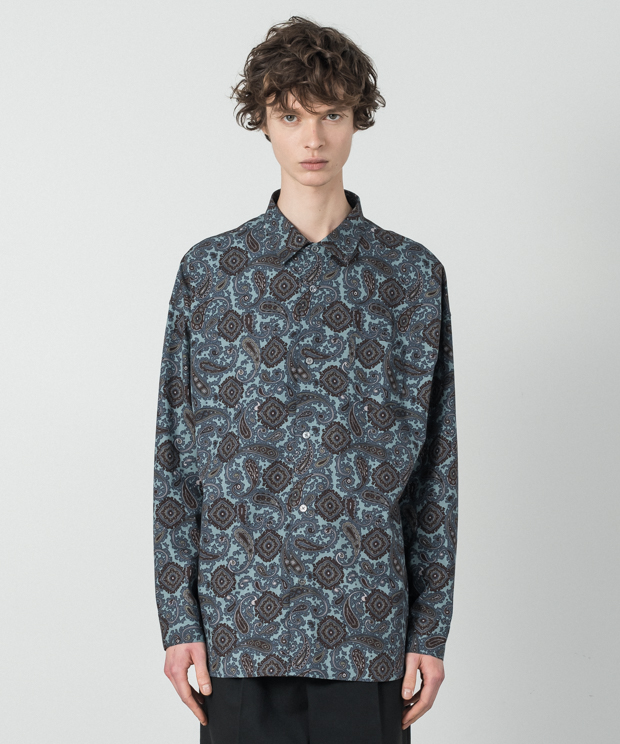 Paisley Pattern Dropped Shoulders Shirt - SAX