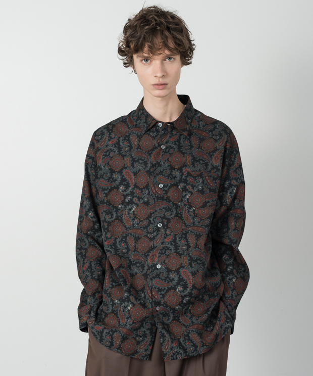 Paisley Pattern Dropped Shoulders Shirt - BLACK