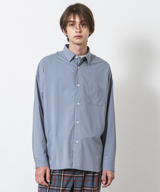 Typewriter Dropped Shoulders Stitch Work Shirt - BLUE GRAY