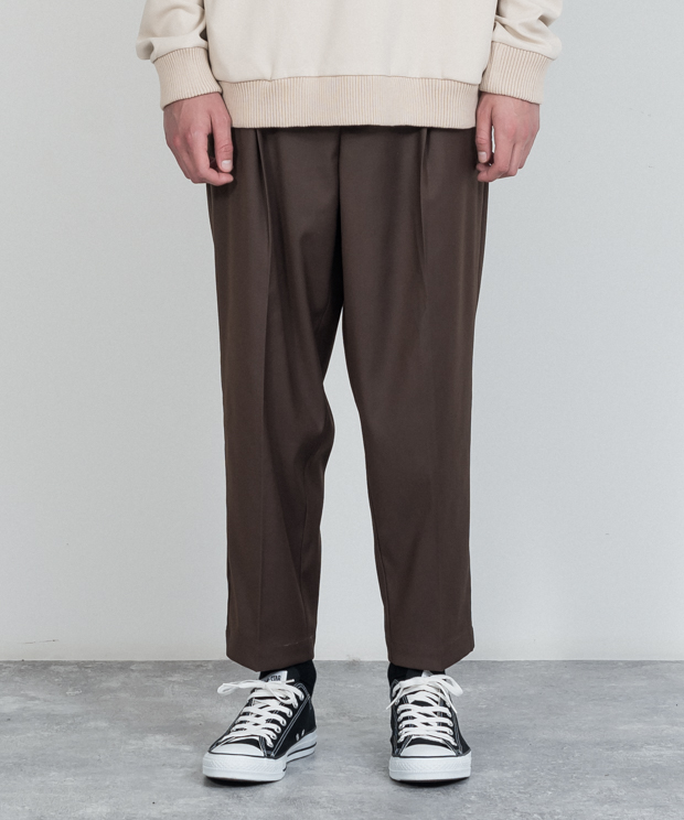 T/R Stretch Wide Tapered Ankle Cut Slacks - BROWN