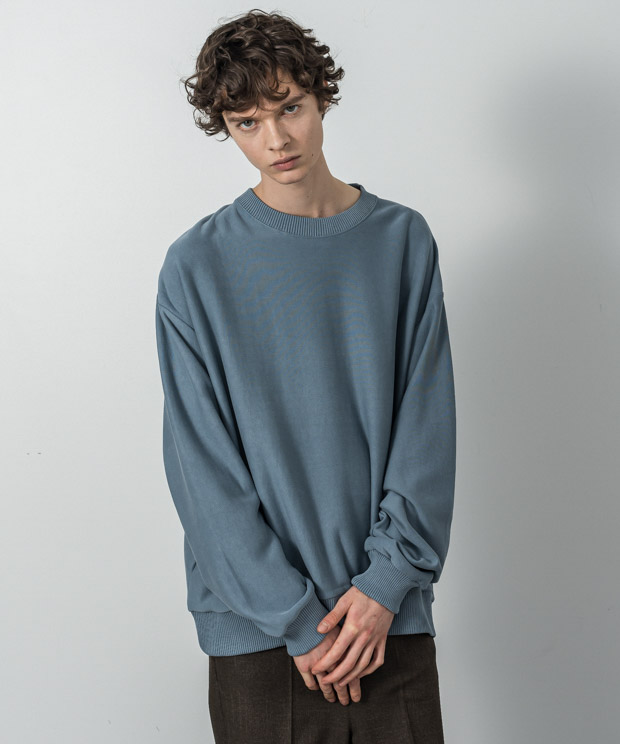 Fleece Oversized Sweatshirt - BLUE GRAY