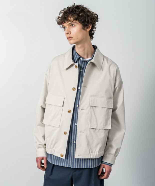 T/C Gaberdine Wide Short Double Pocket Blouson - IVORY