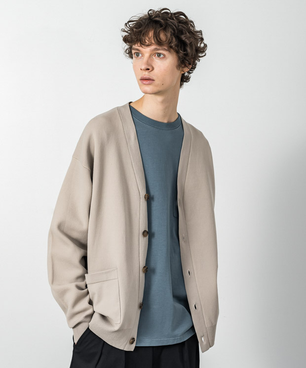 Double Air Knit Cardigan - BEIGE