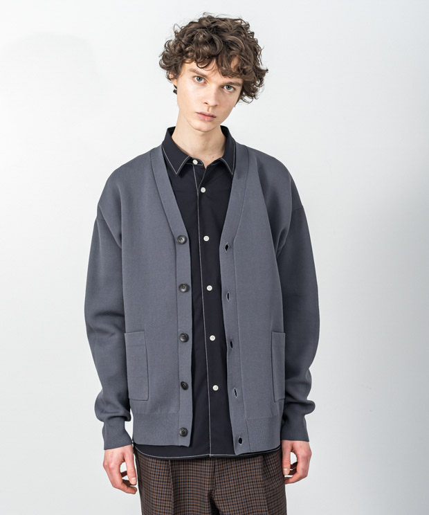 Double Air Knit Cardigan - CHARCOAL