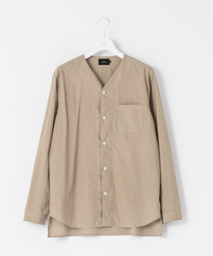 Satin Collarless Shirt - MOCHA
