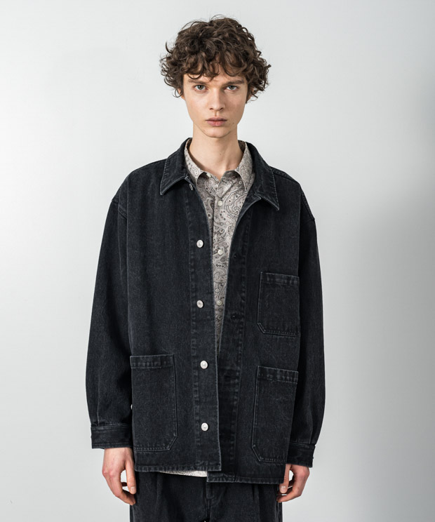 12.5Oz Denim Oversized Coverall - BLACK
