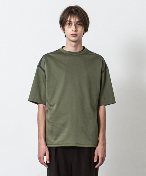 Silky Ponte Piping T-Shirt - GREEN