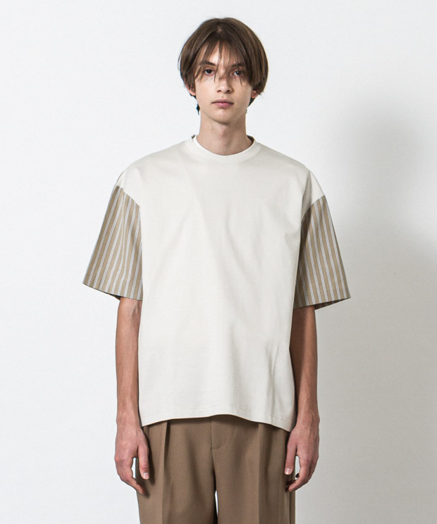 Silky Ponte Stripe Combination T-Shirt - IVORY