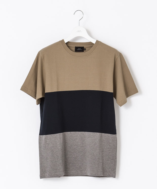 Panel Border T-Shirt - MOCHA/NAVY/GRAY