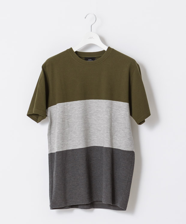 Panel Border T-Shirt - KHAKI/GRAY/CHARCOAL