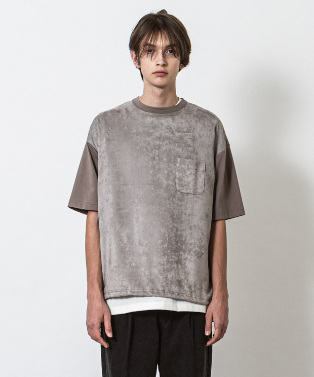 Eco Suede Combination T-Shirt - LIGHT GRAY