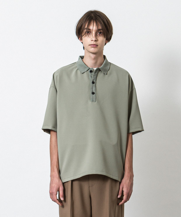 Double Cloth Oversized Polo Shirt - GREEN