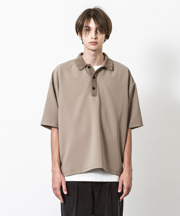 Double Cloth Oversized Polo Shirt - BEIGE