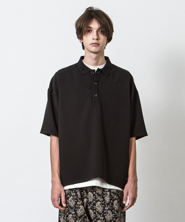 Double Cloth Oversized Polo Shirt - BLACK