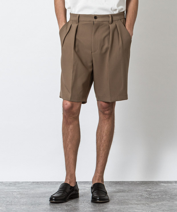 T/R Stretch Double Cloth Two Tuck Short Pants - BROWN