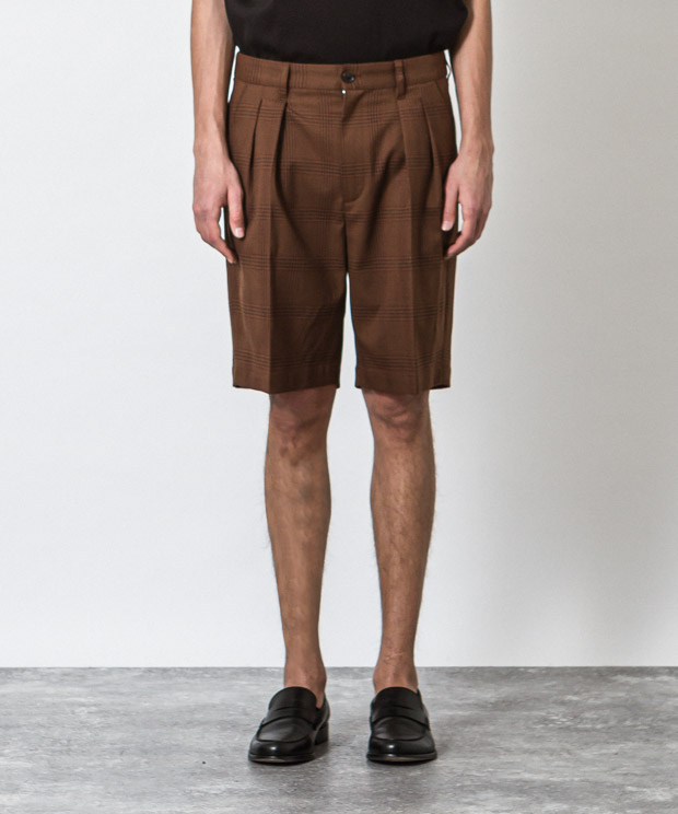 T/R Stretch Glen Check Two Tuck Short Pants - BROWN