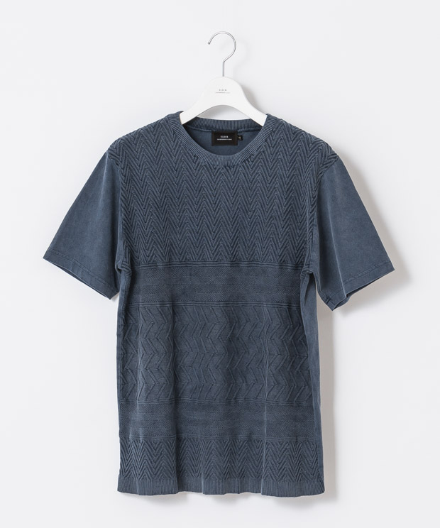 Vintage Washed Combination T-Shirt - NAVY