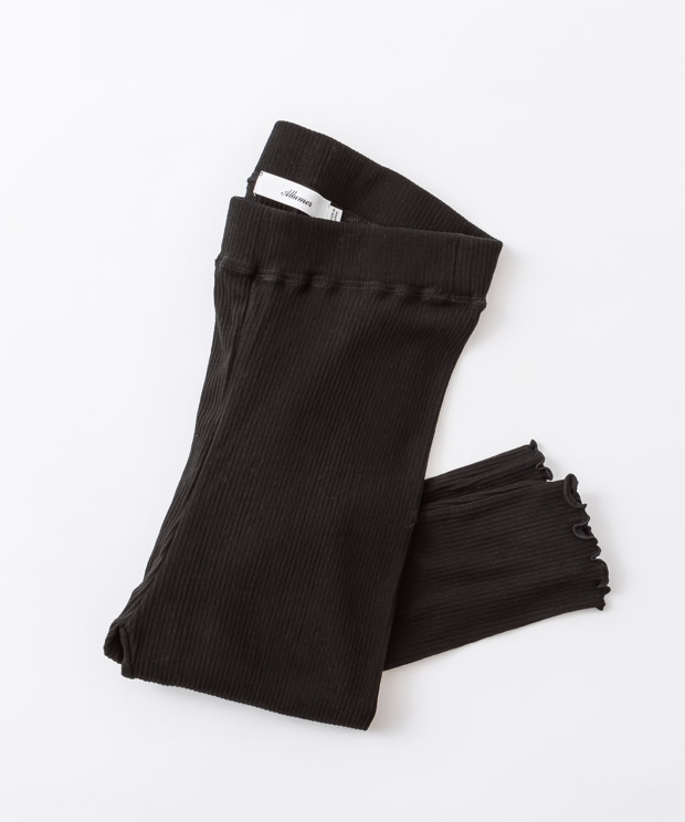 Frill Ribbed Leggings - BLACK