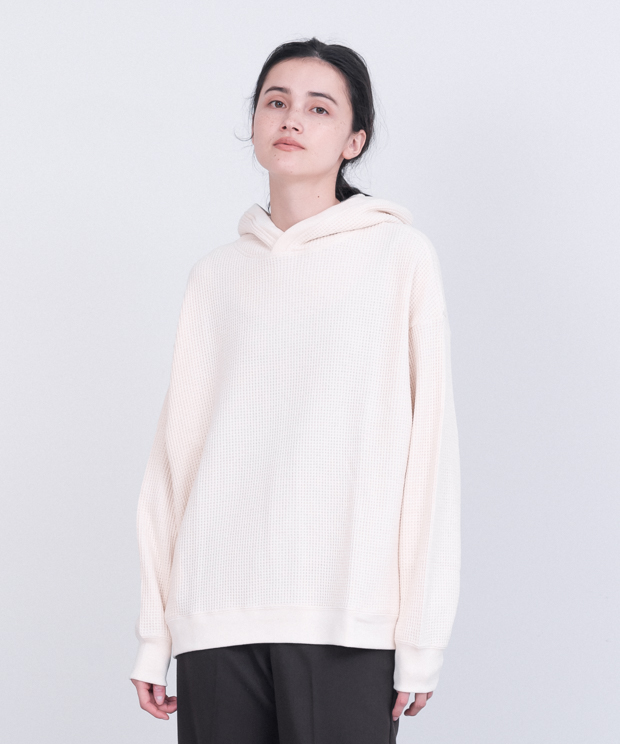 Oversized Waffle Hoodie - NATURAL