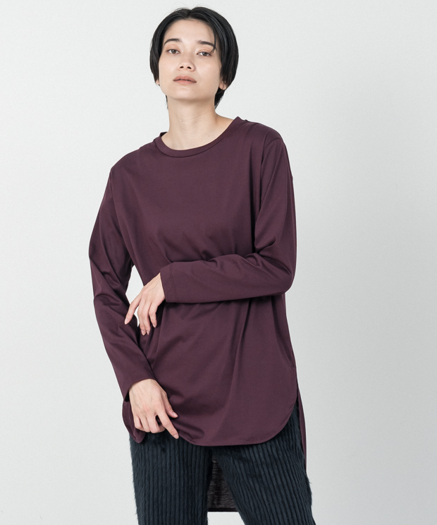 Crewneck Tunic Long T-Shirt - BURGUNDY