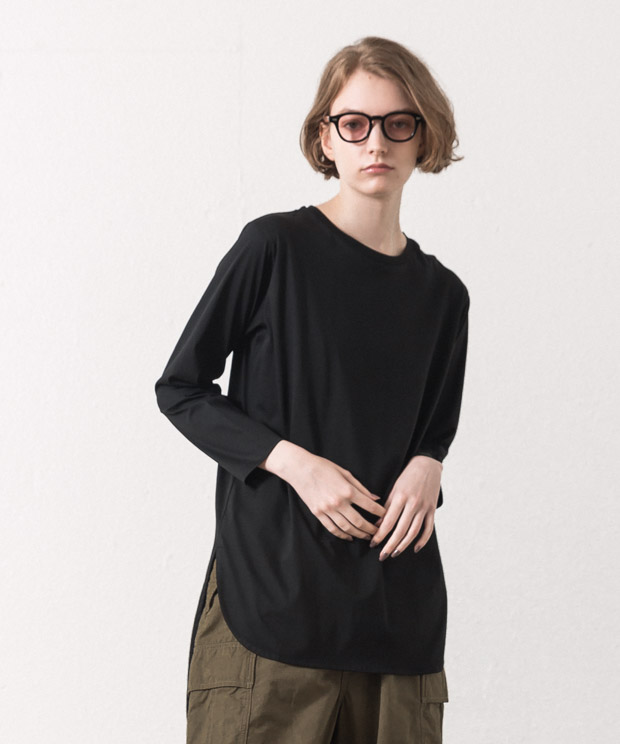 Crewneck Tunic Long T-Shirt - BLACK
