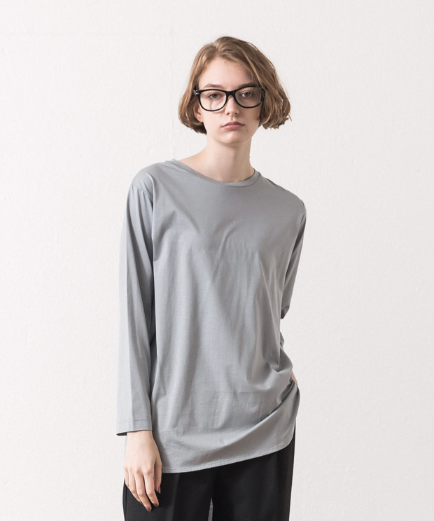 Crewneck Tunic Long T-Shirt - GRAY